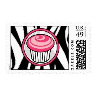 Pink Cupcake Postage Stamp - Black Zebra Print