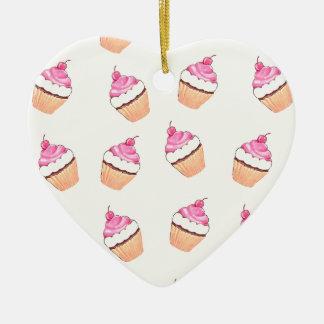 Pink Cupcake Print Christmas Ornament