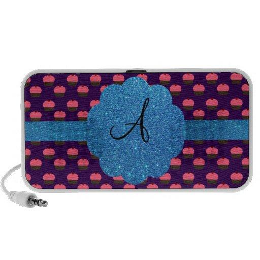 Pink cupcake purple background monogram laptop speakers