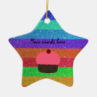 Pink cupcake rainbow glitter ceramic star decoration