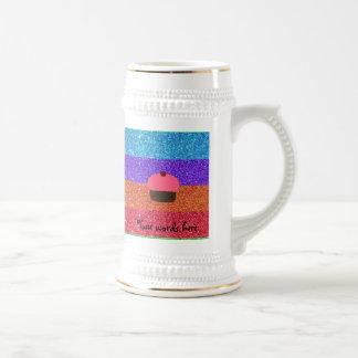 Pink cupcake rainbow glitter coffee mug