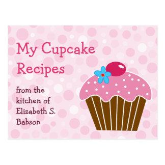 Pink Cupcake Recipe Postcard