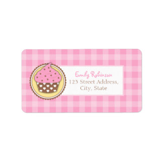 Pink Cupcake Return Address Labels