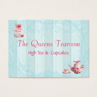 Pink Cupcake Rose Business Card Robins Egg