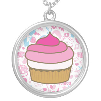 pink cupcake round pendant necklace