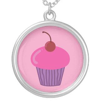 Pink Cupcake Round Pendant Necklace