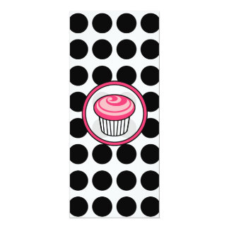 Pink Cupcake Skinny Invitation-Black Polka Dots Card