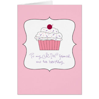Pink Cupcake, To My AIW Friend on Her Birthday Card