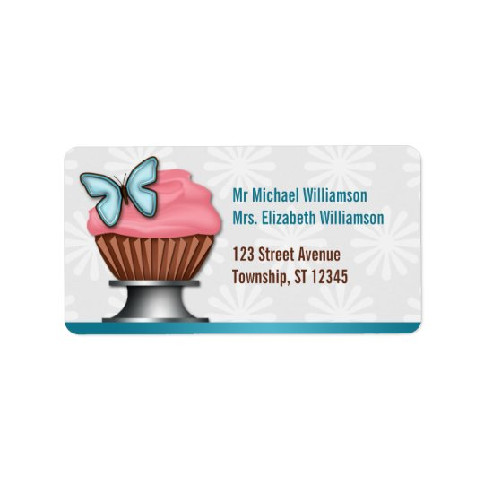 Pink Cupcake Turquoise Butterfly Address Labels