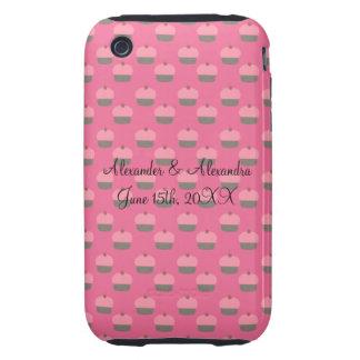 Pink cupcake wedding favors tough iPhone 3 case