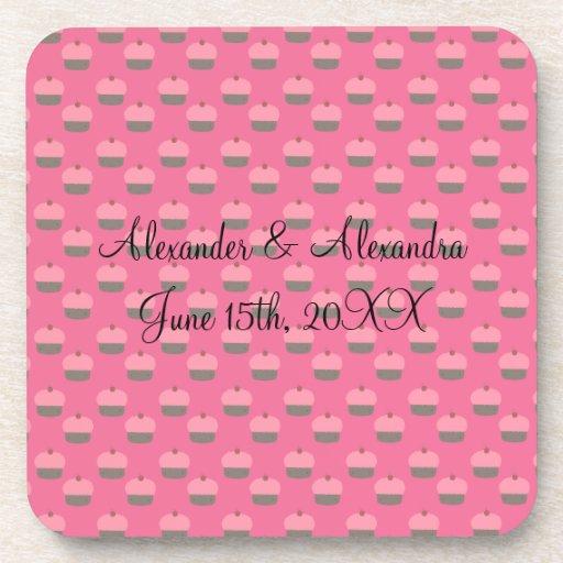 Pink cupcake wedding favors coaster