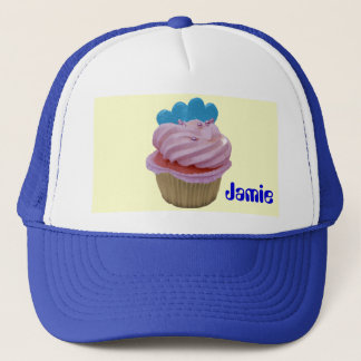 Pink Cupcake with Blue Hearts Trucker Hat