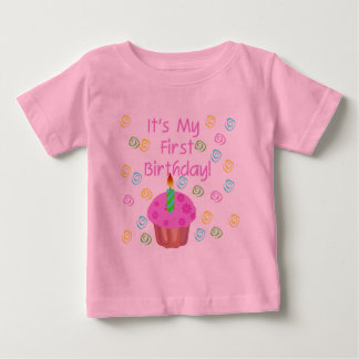 Pink Cupcake With Candle First Birthday Baby T-Shirt