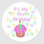 Pink Cupcake With Candle First Birthday Round Sticker