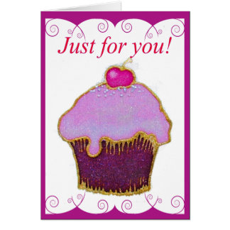 "Pink Cupcake with cherry ""Happy Birthday"" Greeting Card"