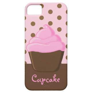 Pink Cupcake with Pink Polka Dots Barely There iPhone 5 Case