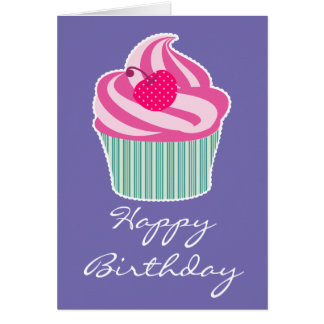 Pink Cupcake WIth Polka Dot Cherry Happy Birthday Greeting Card
