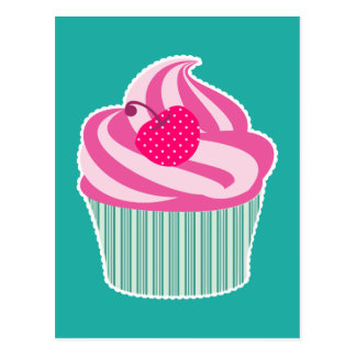 Pink Cupcake WIth Polka Dot Cherry Postcard