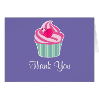 Pink Cupcake WIth Polka Dot Cherry Thank You Note Card