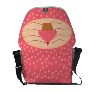 Pink Cupcake with Polka Dots Commuter Bag