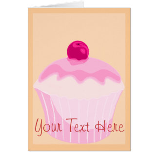 Pink Cupcake With Red Cherry Greeting Card