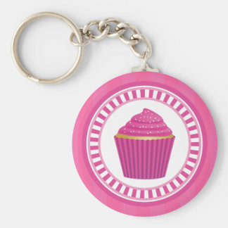 Pink Cupcake with White Sprinkles Basic Round Button Key Ring