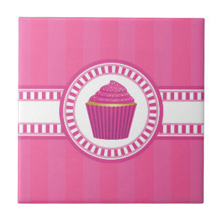 Pink Cupcake with White Sprinkles Tile