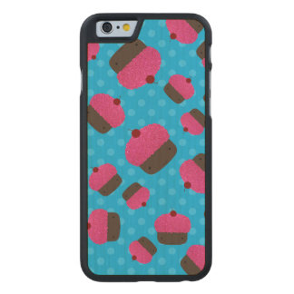 Pink cupcakes blue polka dots carved® maple iPhone 6 case