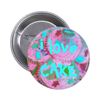 Pink Cupcakes i love CAKE button badge