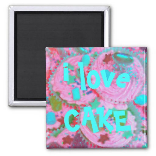 Pink Cupcakes 'i love cake'  fridge magnet Magnets