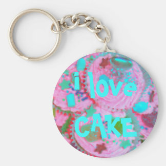 Pink Cupcakes 'i love CAKE' keychain