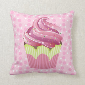 Pink Cupcakes Tasty Sweets Throw Pillow