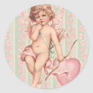 Pink Cupid on Roses Round Sticker
