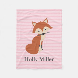 Pink Curious Fox Fleece Blanket