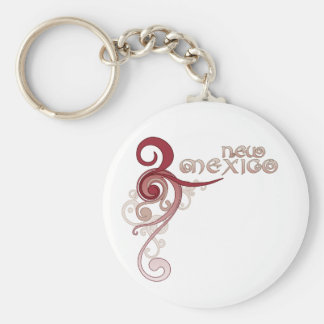 Pink Curly Swirl New Mexico Keychain