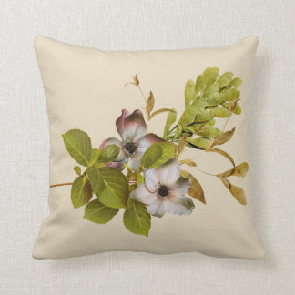 Pink cushion with flowers and leaves wood or