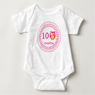 Pink Custom Age Baby Owl Logo For Pictures - Baby Bodysuit