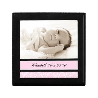 Pink Custom Baby Photo Keepsake Giftbox Small Square Gift Box