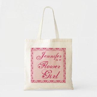 PINK Custom Flower Girl  Wedding Tote Bag