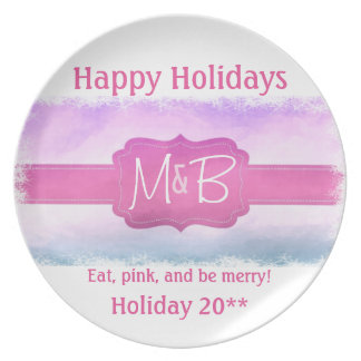 Pink Custom Monogram Holiday Dinner Plate