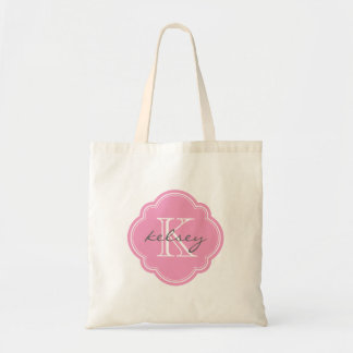 Pink Custom Personalized Monogram Tote Bag