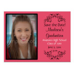 Pink Custom Photo Graduation Save the Date Card Postcards