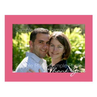 Pink Custom Photo Wedding Thank You PostCards