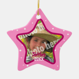 Pink Custom Star Ornament Personalized Xmas Photo
