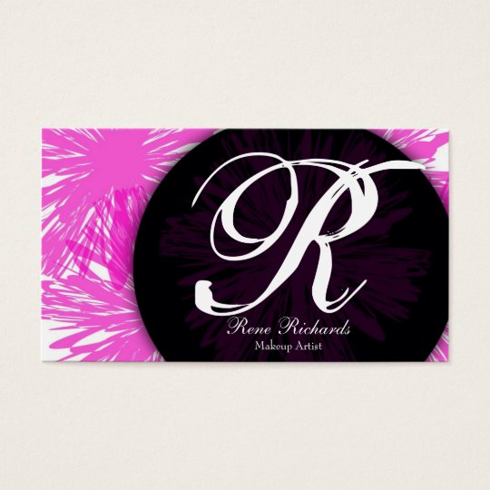 pink customise your mongram business card
