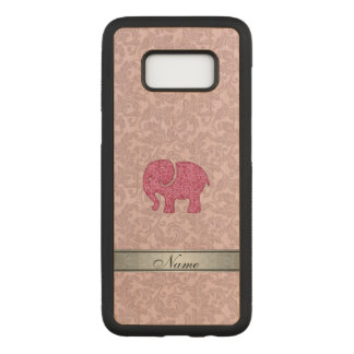 Pink cute adorble elephant damask personalized carved samsung galaxy s8 case