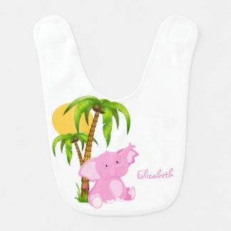 Pink Cute Baby Elephant Baby Bib