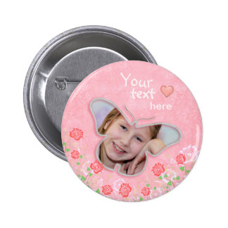 Pink cute butterfly photo frame gifts for girls 6 cm round badge