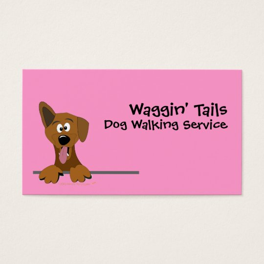 Pink Cute Cartoon Mutt Dog Business Card Template