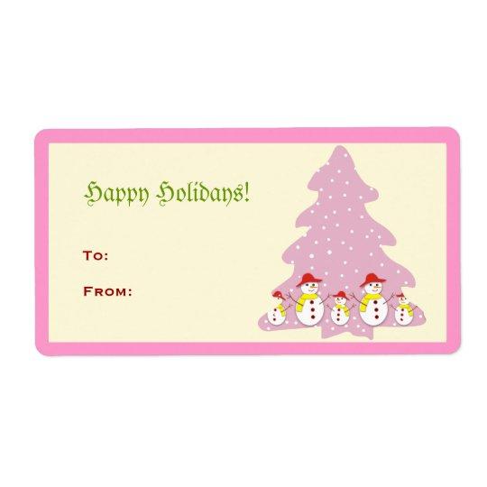 Pink Cute Christmas Tree Snowmen Avery Label